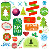 Winter sale set various elements Stock Photography