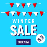 Winter Sale shop now button royalty free stock photography