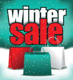 Winter sale shopping bag background Royalty Free Stock Photos