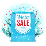 Winter Sale Shopping Bag Stock Image