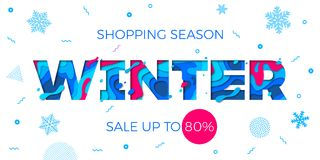 Winter sale banner seasonal holiday shopping discount promo vector offer. Winter sale shopping discount promo banner for seasonal holiday special offer design Stock Image
