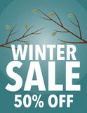Winter sale. Sign with branches - save up to 80% off vector illustration