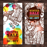 Winter Sale Sketch Banners Royalty Free Stock Photography