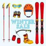Winter sale of ski, snowboarding equipment, stuff in flat style. Winter sale of ski, snowboarding equipment, stuff in flat  style Royalty Free Stock Photography