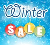 Winter Sale Christmas Sale Snow Flakes Sparkle Blue Background Stock Images