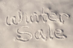Winter Sale in the Snow. An image of the words winter sale written in the snow Stock Images