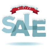 Winter sale with snow and ribbon Stock Photos