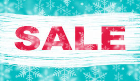 Winter sale with snowflake background Stock Images
