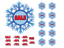 Winter sale snowflakes Royalty Free Stock Images