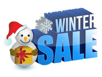 Winter sale snowman sign Stock Image