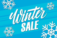 Winter Sale. Special offer banner with handwritten element. Stock Images