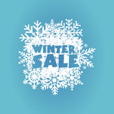 Winter sale, special offer banner - tex on white drawn snowflakes symbol Stock Image