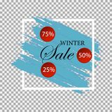 Winter sale. Special offer. Blue background. Christmas and New Year winter sale. Discount banner. Royalty Free Stock Photos