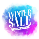 Winter sale special offer text design for holiday promotion in colorful watercolor Stock Image