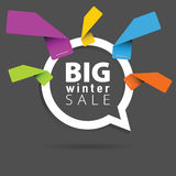 Winter sale with speech bubble and sticker illustration Royalty Free Stock Photo