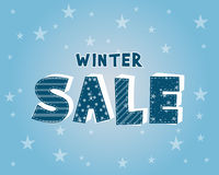 Winter sale with stars poster Stock Image