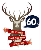 Winter sale sticker and banner. Christmas sale. New year sale. Web banners, advertisements, brochures, business templates.   Illustration on a white background Stock Photo