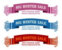 Winter sale sticker and banner. Christmas sale. New year sale. Web banners, advertisements, brochures, business templates.   Illustration on a white background Stock Photos