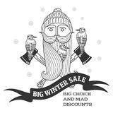 Winter sale sticker. Winter sale. Christmas sale. New year sale. Vector Illustration. Web banners, advertisements, brochures, business templates.  on a white Stock Photography