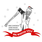 Winter sale sticker. Winter sale. Christmas sale. New year sale. Vector Illustration. Web banners, advertisements, brochures, business templates.  on a white Royalty Free Stock Photography