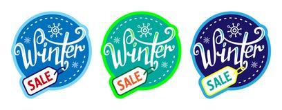 Winter sale sticker set. Labels. Letteing royalty free illustration