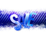 Winter Sale at stripes background with snowflakes Royalty Free Stock Photography