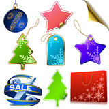 Winter sale tags. Isolated on white background stock illustration