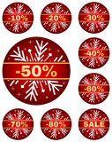 Winter sale tags. Sale tags for christmas or new year or winter sale out. Percentage discount. Isolated red set with snowflake on white background. 10%, 20%, 30 royalty free illustration
