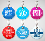 Winter Sale Tags Set for Season Store Promotions with Labels. In Circle Shape with Blue, Red and White Colors. Vector Illustration Stock Photo