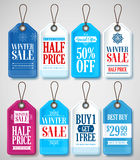 Winter Sale Tags Set for Season Store Promotions with Labels Hanging. In Background with Blue and White Colors. Vector Illustration Stock Photography