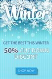 Winter sale text banners for December shopping. Promo or 50 shop discount. Design rdecoration with snowflakes, frosty patterns in bright style Stock Photography