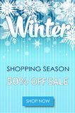 Winter sale text banners for December shopping. Promo or 50 shop discount. Design rdecoration with snowflakes, frosty patterns in bright style Royalty Free Stock Images