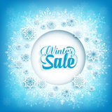 Winter Sale Text in Circle White Space with Snow Flakes. In Blue Pattern Background. Vector Illustration Royalty Free Stock Images