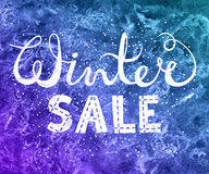 Winter sale text lettering on watercolor background. Seasonal shopping concept to design banners, price or label. Isolated vector illustration Royalty Free Stock Photography