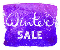 Winter sale text lettering on watercolor background. Seasonal shopping concept to design banners, price or label. Vector illustration Royalty Free Stock Photos