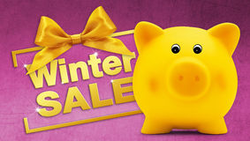 Winter sale text with piggy bank, golden ribbon bow, Isolated. On pink background Royalty Free Stock Photo