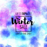 Winter Sale up to 50 percent off. Seasonal discounts. Abstract colorful watercolor banner with hand drawn lettering. Winter Sale up to 50 percent off. Limited Vector Illustration