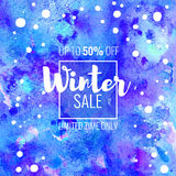 Winter Sale up to 50 percent off. Seasonal discounts. Abstract colorful watercolor banner with hand drawn lettering. Winter Sale up to 50 percent off. Limited Stock Illustration