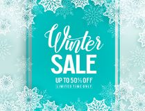 Winter sale vector background template with snowflakes elements Stock Photos
