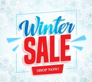 Winter sale vector banner with 3d red sale text and frame in white snow background Royalty Free Stock Photography