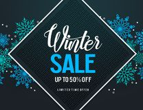 Winter sale vector banner design with colorful snow elements and discount text Stock Photo