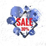 Winter sale vector banner design with elements and winter sale text in snow pattern background for shopping promotion royalty free illustration