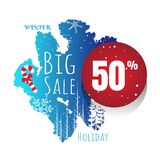 Winter sale vector banner set with sale for seasonal marketing p Stock Photography