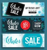 Winter sale vector banner set with sale text and snow background template Stock Image