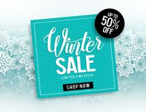 Winter sale vector banner template with blue frame for sale text & snowflakes elements Royalty Free Stock Images