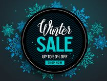 Winter sale vector banner template with colorful snowflakes elements Stock Image