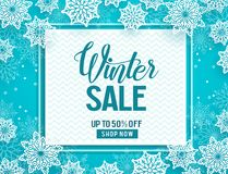 Winter sale vector banner template with white snow elements Royalty Free Stock Photos