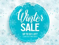 Winter sale vector banner template with white snowflakes background Stock Photography