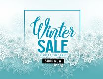 Winter sale vector banner with white snowflakes elements and winter sale text. In blue snow background for seasonal promotion. Vector illustration Stock Illustration
