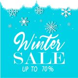Winter sale vector. Winter sale 3D text vector illustration in winter background of blue color with snowflakes and lights for seasonal promotion.. Vector Stock Photos